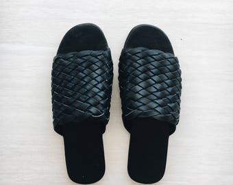 Woven leather slides / sandals