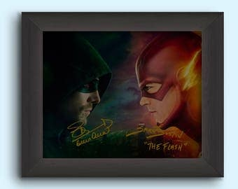 THE FLASH & ARROW Grant Gustin and Stephen Amell Movie Cast Signed (Pre-Printed) 8x10 Photo