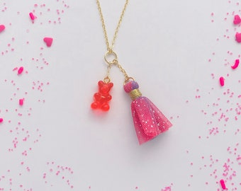 Gummy Bear Tulle Tassel Charm Necklace in Cherry