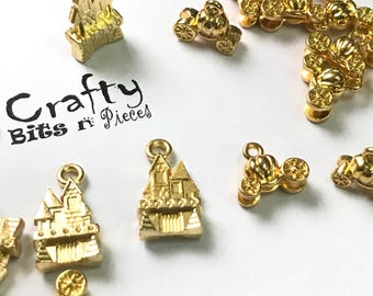 5 pcs Gold Plated Princess Castle Pumpkin Carriage Charm Pendant Findings