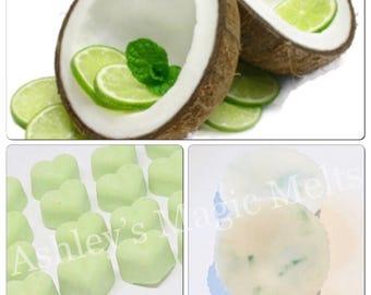 3 coconut lime soy wax melts, fruity wax melts, citrus melts, wax tart melts, food wax melts, cheap wax melts, highly fragranced melts