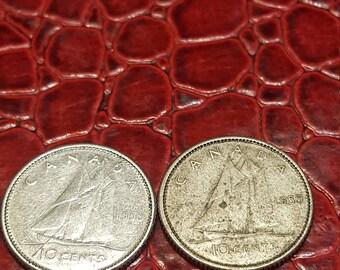 1959  Canada 10 Cent Dime Silver Coin-1 coin