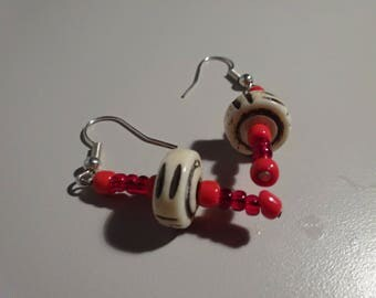 Red Hawaiian Beaded Earrings
