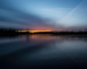 Embers - Sunset at Diana Fountain,Bushy Park, Teddington, UK, Landscape Photographic Print.