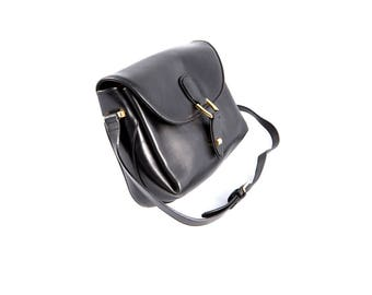 Ferramoro Black Leather Shoulder Bag