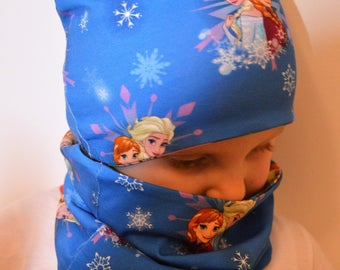 Cartoon frozen baby, kids, adults hat set with neck warmer.