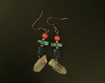 One-of-a-kind, handcrafted, quartz crystal, gemstone earrings