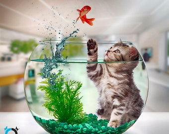The Fishbowl Escape - Furry Wet Kitten makes it way into a fish tank - Cat Digital Art for Print