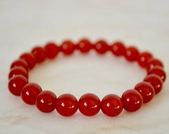 PURE. Carnelian Bracelet. Stretch Bracelet. Gemstone Bracelet. Stacking Bracelet. Carnelian Jewellery. Carnelian Beads. Chakra Stones.