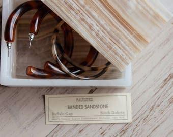 Minimalist Sandstone Jewelry box w/ Lid