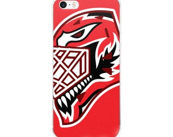 """Red """"92"""" Goalie Mask iPhone Case"""