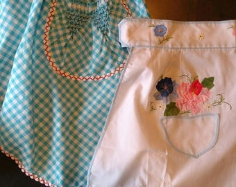 Two Vintage Half Aprons Smocked, Applique and Embroidery.