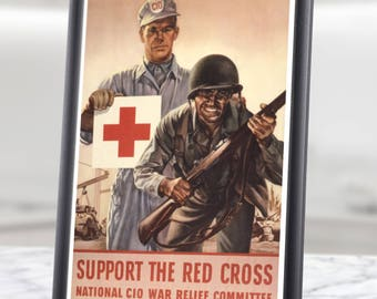 "Red Cross Poster WW2 American Propaganda Reproduction - 9.4 x 13"" (24x33 cm) Solid Wood Framed + Safety Glass - Black, Brown, Yellow frames"