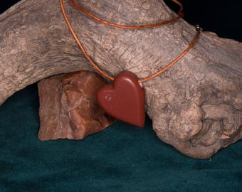 Hand Carved Pipestone Heart Pendant Necklace