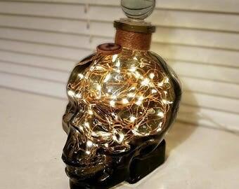 Pirate Skull Lamp - Smoked Glass Crystal Skull Head 700ml Warm White LED Glass Bottle Lamp Light