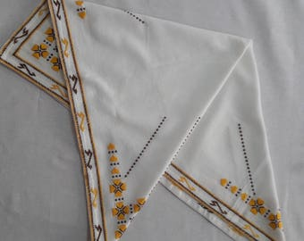 Hand embroidered tablecloth from 1950's, Folk art embroidery, Traditional Bulgarian motives, Kitchen decor, Bulgarian embroidery.