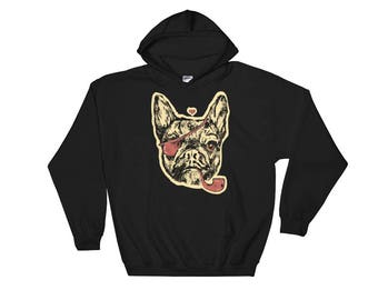 French Bulldog Hoodie With Eyepatch and Smoking Pipe Men's Hooded Sweatshirt