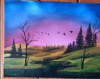 Ducks at sunset original oil painting signed