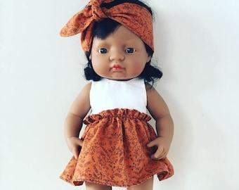 Miniland dress & headband for 38cm doll