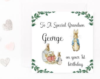 Beatrix Potter Personalised Birthday Card, Peter Rabbit Birthday Card, Baby Boy Birthday Card, Handmade Card Son Nephew Any Age Name Wording