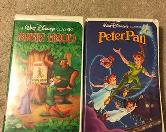 Peter Pan and Robin Hood VHS Black Diamond Combo