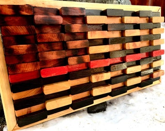 """American Flag, America, 4th of July, Independence Day, Stars and Stripes, Firefighter, Fireman, Military, Wood art, """"Defining the Red"""""""