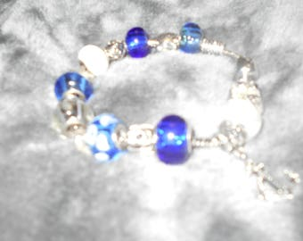 Euro style beaded bracelet with handmade beads