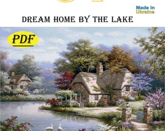 dream home by the lake,cross-stitch pattern,pdf,gifts,handmade,file,thread,how to do it