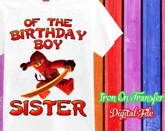 Sister, Ninjago Iron On Transfer, Ninjago Birthday Shirt, Ninjago Transfer, Ninjago Shirt Iron On, Instant Download