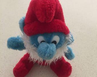 Vintage plush Papa Smurf toy