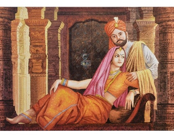 Rajisthani Couple Painting Print With Texture Coating Poster Without Frame (25 X 36 Inches)