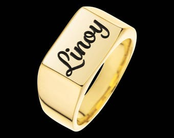 Gold Name Ring - Personalized Signet Ring - Custom Name Ring - Engraved Ring - Personalized Ring - Personalized Jewelry - Personalized Gift