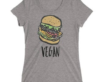 Cute Vegan T Shirt for Women - Super Soft Tri Blend Vegan Burger Tee Shirt for Ladies - Funny Vegan T-Shirt