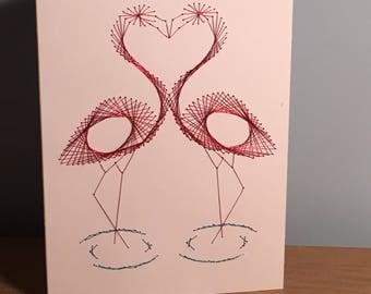 Handmade flamingo greeting card