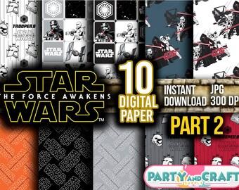 STAR WARS Part 2 Digital Paper. Instant Download - Scrapbooking - Star Wars Printable Paper Craft The Last Jedi BB8 Rey Chewbacca Dart Vader