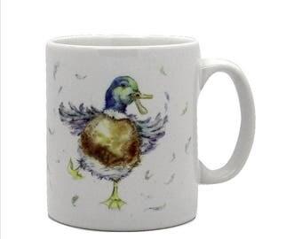 Crazy Duck - Ceramic Duck Mug. Handmade printed onto Durham style mug from an Original Sheila Gill Watercolour
