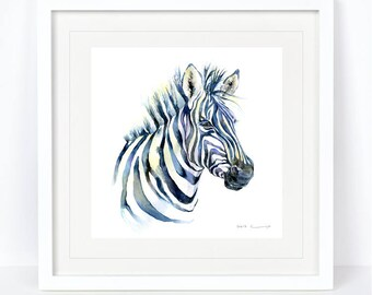 Zebra Print. Printed from an Original Sheila Gill Watercolour. Fine Art, Giclee Print, Hand Painted, Home Decor