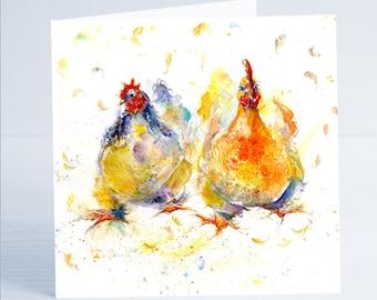 Chicken Run - Greeting Card - Taken from an original Sheila Gill Watercolour Painting.