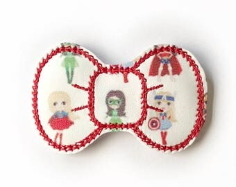 Super Hero Embroidery Bow Snap Clip - Faux Leather - Snap Clips - 50mm Clips - 2.5 inches - Embroidery Bow - Hair Bows