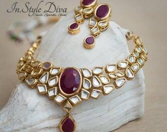 Indian necklace set, kundan necklace set, kundan polki jewelry,Indian Bridal Jewelry,Pakistani jewelry,pink stone, Ruby stone, kundan