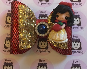 Apple fairytale princess double layer glitter bow for girls, party hair, dress up hair