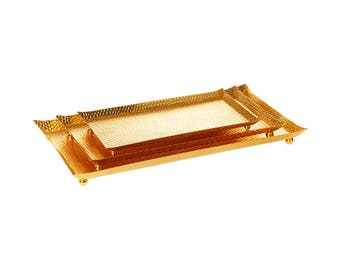 Gold Hammered Rectangle Serving Tray