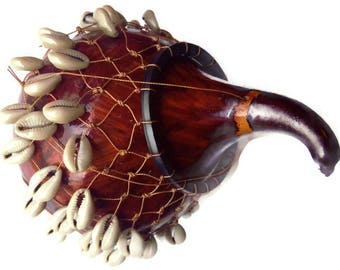 Calabash Gourd Decorated- Real Gourd Decorated with Sea Shells