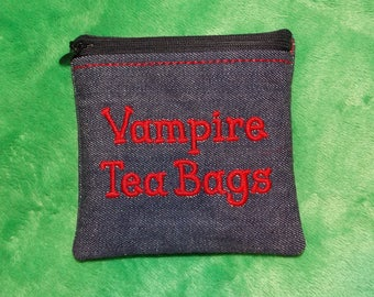 Mini Vampire Tea Bags Zipper Bag full PUL waterproof lining perfect for storing CSP Moon Cup reuseable santitary products disposable tampons