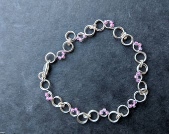 Silver Plated Sorrento Scroll Wire Bracelet with beads