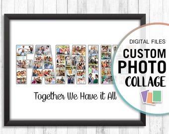 Family Photo Collage, Family Photo Gift, Family Photo Art, Custom Family Photo, Custom Family Print, Personalized Family Gift, Photo Collage