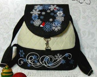 Textile Backpack Embroidered Shoulder Bags Multifunctional Travel Backpack Bag for Girls Backpack for School Women's Backpacks Winter