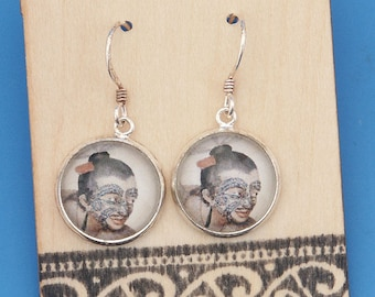 New Zealand Maori Chief, vintage art print, Earrings, glass dome art, sterling silver earring wires