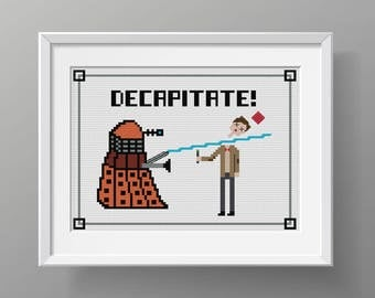 "WHOVIAN Cross Stitch Pattern ""Decapitate!!"", Dr Who, Doctor Who, Modern Cross Stitch, Matt Smith, 11th doctor, nerdy cross stitch"