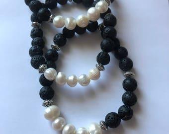 Essential Oil Diffuser Bracelet w/ Fresh Water Pearls